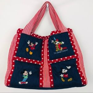 Walt Disney Mickey theme patchwork embroidered bag